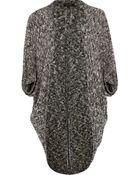 River Island Grey Slub Knit Cocoon Cardigan - Lyst