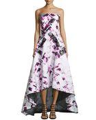 Monique Lhuillier Strapless Jacquard Lace Detail High-Low Gown - Lyst