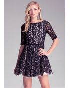 Bebe Lace Fit & Flare Dress - Lyst
