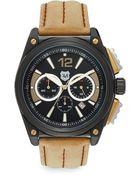 Andrew Marc Black Ip Stainless Steel & Stitched Leather Chronograph Watch - Lyst