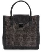 Loeffler Randall Studded Speckled Calf Hair & Leather Tote - Lyst