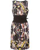 Oscar de la Renta Floral Print Belted Dress - Lyst