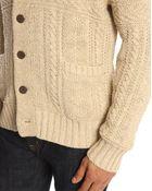Denim & Supply Ralph Lauren Beige Cardigan With Shawl Collar - Lyst