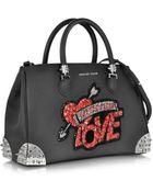 Philipp Plein Black Grained Leather Love Handbag - Lyst