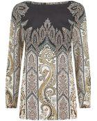 Etro Paisley Silk Tunic Top - Lyst