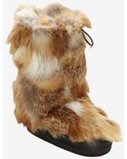 Chloé Red Fox Fur Moonboots - Lyst