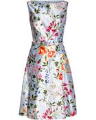Oscar de la Renta Floral-Print Cotton And Silk-Blend Twill Dress - Lyst