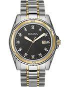 Bulova Mens Two Tone Bracelet Watch With Diamond Markers - Lyst