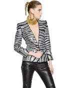 Balmain Embellished Stretch Cotton Jersey Jacket - Lyst