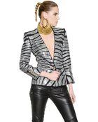 Balmain Embellished Stretch Cotton Jersey Jacket - Lyst