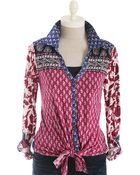 Lucky Brand Corte Madera Mixed Print Tie-front Top - Lyst