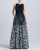 Aidan Mattox Sleeveless Printed Combo Gown - Lyst