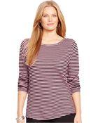 Lauren by Ralph Lauren Plus Size Striped Three-Quarter-Sleeve Top - Lyst