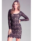 Bebe Long Sleeve Lace Dress - Lyst