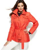 Michael Kors Michael Quilted Belted Jacket - Lyst