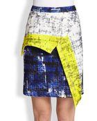 Cut25 By Yigal Azrouël Asymmetrical Paneled Printed Neoprene Skirt - Lyst