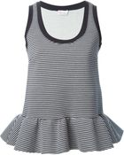 RED Valentino Striped Peplum Tank Top - Lyst
