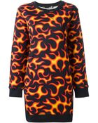 Love Moschino Flame Print Sweater Dress - Lyst
