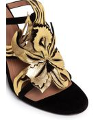 Marni Metallic Floral Appliqué Suede Sandals - Lyst