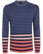 Paul Smith Petrol Blue Contrast Stripe Sweater - Lyst