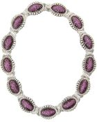 Lagos Fluted Pave Pink Sapphire Link Collar Necklace - Lyst
