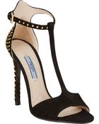 Prada Studded Ankle-Strap Sandals - Lyst