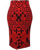 Alexander McQueen Patchwork Pencil Skirt - Lyst