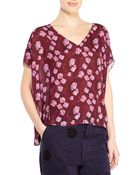 Band Of Outsiders Silk V-Neck Floral Boxy Top - Lyst