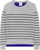 Mason by Michelle Mason Paneled Striped Cashmere And Silk-Chiffon Sweater - Lyst