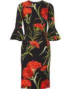 Dolce & Gabbana Floral-Print Crepe Dress - Lyst