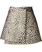 Suno Swirl Wrap Mini Skirt - Lyst