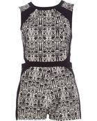 River Island Black Abstract Print Colour Block Playsuit - Lyst