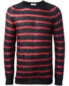 Roberto Collina Striped Open Knit Sweater - Lyst