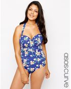 Asos Curve Exclusive Belted Swimsuit In Navy Floral - Lyst
