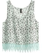 H&M Top With A Lace Trim - Lyst