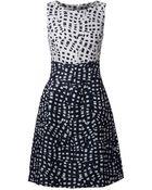 Oscar de la Renta Abstract Grid Print Dress - Lyst