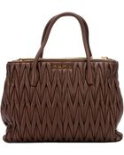 Miu Miu Coconut Matelassã© Nappa Leather Small Convertible Tote Bag - Lyst