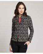 Lafayette 148 New York Black Wool-Cotton Blend Tweed Long Sleeve Jacket - Lyst