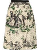 Oscar de la Renta Quilted Silk Skirt - Lyst