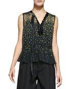 Marc Jacobs Sleeveless Floral Blouse W/ Asymmetric Tie - Lyst