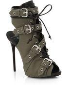 Giuseppe Zanotti Military Canvas Buckle Ankle Boots - Lyst