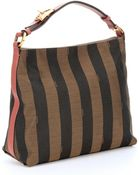 Fendi Tobacco And Pottery Canvas Top Handle Bag - Lyst