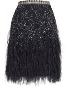 Matthew Williamson Feather-Trimmed Embellished Tulle Mini Skirt - Lyst