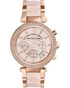 Michael Kors Mid-Size Rose Golden Stainless Steel Parker Chronograph Glitz Watch - Lyst