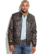 Tommy Hilfiger Big And Tall Faux Leather Faux-Shearling-Lined Military Jacket - Lyst