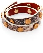 Tory Burch Snake Embossed-Leather Double-Wrap Logo Bracelet - Lyst