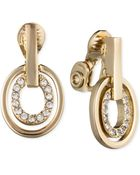 Anne Klein Crystal Pavé Circle Drop Clip-On Earrings - Lyst