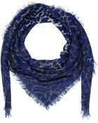 McQ by Alexander McQueen Blue Animal Print Modal Scarf - Lyst