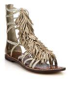 Sam Edelman Gisela Fringed Metallic Leather Gladiator Sandals - Lyst