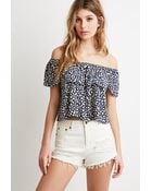 Forever 21 Abstract Dot Off-The-Shoulder Top - Lyst